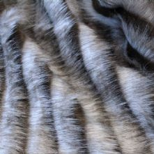 Brown Grey Striped Fringed Long Pile Faux Fur Fabric Fat Quarter